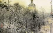 莫斯科一瞥 刘懋善山水画 异国风光刘懋善山水画壁纸 绘画壁纸