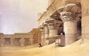 追寻古老神秘的文明 David Roberts 古埃及绘画壁纸集 依芙神殿 Facade Temple Edfu 追寻古老神秘的文明David Roberts 古埃及绘画壁纸集 绘画壁纸