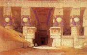 追寻古老神秘的文明 David Roberts 古埃及绘画壁纸集 丹达拉神殿大柱廊 Great Portico Dendera 追寻古老神秘的文明David Roberts 古埃及绘画壁纸集 绘画壁纸