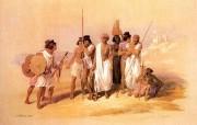 追寻古老神秘的文明 David Roberts 古埃及绘画壁纸集 努比亚人 Group Of Nubians At Wady Kardassy 追寻古老神秘的文明David Roberts 古埃及绘画壁纸集 绘画壁纸