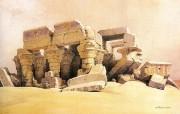追寻古老神秘的文明 David Roberts 古埃及绘画壁纸集 残破的柯欧普神殿 Kom Ombo 追寻古老神秘的文明David Roberts 古埃及绘画壁纸集 绘画壁纸