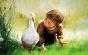 金色童年 法国画家 Donald Zolan 儿童水彩画集 一 鸭子宝贝 可爱小男孩绘画图片 金色童年儿童水彩画集一 节日壁纸