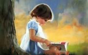 金色童年 法国画家 Donald Zolan 儿童水彩画集 一 自己看书 童年 儿童节绘画壁纸 金色童年儿童水彩画集一 节日壁纸