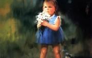 金色童年 法国画家 Donald Zolan 儿童水彩画集 一 小女孩的礼物 童年 儿童节绘画壁纸 金色童年儿童水彩画集一 节日壁纸