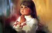 金色童年 法国画家 Donald Zolan 儿童水彩画集 一 圣诞的祈祷 童年小女孩绘画壁纸 金色童年儿童水彩画集一 节日壁纸