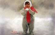 金色童年 法国画家 Donald Zolan 儿童水彩画集 一 Winter Angel 童年 儿童节绘画壁纸 金色童年儿童水彩画集一 节日壁纸