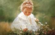 金色童年 法国画家 Donald Zolan 儿童水彩画集 一 春天的天使 天使般的小女孩绘画图片 金色童年儿童水彩画集一 节日壁纸