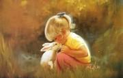 金色童年 法国画家 Donald Zolan 儿童水彩画集 一 温柔时刻 天使般小女孩手绘图片 金色童年儿童水彩画集一 节日壁纸