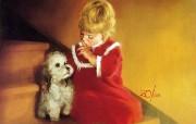 金色童年 法国画家 Donald Zolan 儿童水彩画集 一 圣诞的秘密 儿童节可爱小女孩图片 金色童年儿童水彩画集一 节日壁纸