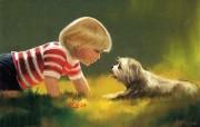 金色童年 法国画家 Donald Zolan 儿童水彩画集 一 交朋友 男孩与小狗绘画壁纸 金色童年儿童水彩画集一 节日壁纸