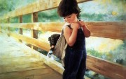 金色童年 法国画家 Donald Zolan 儿童水彩画集 一 快到家了 背小狗回家 金色童年儿童水彩画集一 节日壁纸
