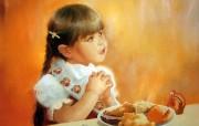 金色童年 法国画家 Donald Zolan 儿童水彩画集 一 餐前的祷告 可爱小女孩图片 金色童年儿童水彩画集一 节日壁纸