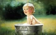 金色童年 法国画家 Donald Zolan 儿童水彩画集 一 夏天的泡泡澡 童年童趣壁纸 金色童年儿童水彩画集一 节日壁纸