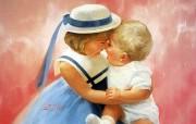 金色童年 法国画家 Donald Zolan 儿童水彩画集 一 天使妈妈 儿童节童年绘画壁纸 金色童年儿童水彩画集一 节日壁纸