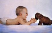 金色童年 法国画家 Donald Zolan 儿童水彩画集 一 宝宝与狗狗 儿童水彩画壁纸 金色童年儿童水彩画集一 节日壁纸