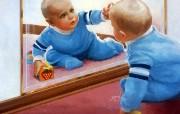 金色童年 法国画家 Donald Zolan 儿童水彩画集 一 镜子的发现 儿童水彩画壁纸 金色童年儿童水彩画集一 节日壁纸