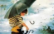 金色童年 法国画家 Donald Zolan 儿童水彩画集 一 Touching the Sky 儿童节主题孩绘画壁纸 金色童年儿童水彩画集一 节日壁纸
