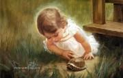 金色童年 法国画家 Donald Zolan 儿童水彩画集 一 发现乌龟 可爱小女孩绘画壁纸 金色童年儿童水彩画集一 节日壁纸