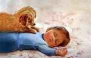 金色童年 法国画家 Donald Zolan 儿童水彩画集 一 等待玩耍 睡着的宝宝绘画壁纸 金色童年儿童水彩画集一 节日壁纸