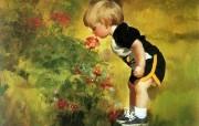 金色童年 法国画家 Donald Zolan 儿童水彩画集 一 花香 可爱儿童主题绘画壁纸 金色童年儿童水彩画集一 节日壁纸