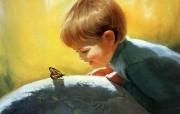 金色童年 法国画家 Donald Zolan 儿童水彩画集 一 蝴蝶 可爱儿童时光绘画壁纸 金色童年儿童水彩画集一 节日壁纸
