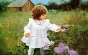 金色童年 法国画家 Donald Zolan 儿童水彩画集 一 花园里的小女孩 可爱小女孩绘画图片 金色童年儿童水彩画集一 节日壁纸