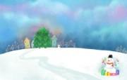 可爱温馨圣诞插画壁纸 圣诞树和雪人壁纸 可爱温馨圣诞壁纸 节日壁纸
