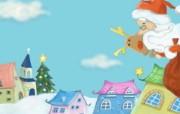 可爱温馨圣诞插画壁纸 圣诞老人派礼物 可爱温馨圣诞壁纸 节日壁纸
