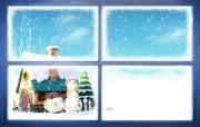可爱温馨圣诞插画壁纸 窗外雪景壁纸 可爱温馨圣诞壁纸 节日壁纸