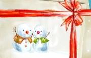 可爱温馨圣诞插画壁纸 雪人礼物壁纸 可爱温馨圣诞壁纸 节日壁纸
