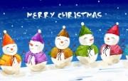 可爱温馨圣诞插画壁纸 五色雪人壁纸 可爱温馨圣诞壁纸 节日壁纸