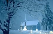 浪漫的银色圣诞 节日壁纸