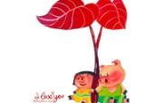 情人节主题 猪猪情侣 情人节手绘插画壁纸 情人节卡通插画 节日壁纸