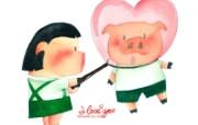 情人节主题 猪猪情侣 情人节卡通手绘壁纸 情人节卡通插画 节日壁纸