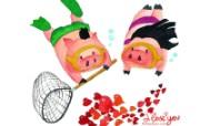 情人节主题 猪猪情侣 壁纸 情人节卡通插画 节日壁纸