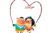 情人节主题 猪猪情侣 情人节手绘卡通壁纸 情人节卡通插画 节日壁纸