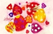 情人节主题 爱心瓢虫 情人节手绘插画壁纸 情人节卡通插画 节日壁纸