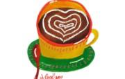 情人节主题 情人节心形咖啡 情人节手绘卡通壁纸 情人节卡通插画 节日壁纸