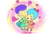 情人节主题 情人节卡通情侣 情人节手绘卡通壁纸 情人节卡通插画 节日壁纸