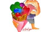 情人节主题 情人节手绘卡通壁纸 情人节卡通插画 节日壁纸