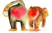 情人节主题 猩猩情侣 情人节手绘卡通壁纸 情人节卡通插画 节日壁纸