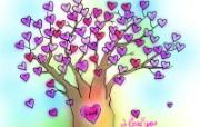 情人节主题 情人节爱心树 情人节手绘卡通壁纸 情人节卡通插画 节日壁纸