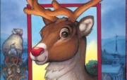 圣诞节绘画壁纸圣诞老人与红鼻子驯鹿鲁道夫 节日壁纸