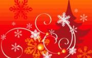 圣诞树与雪花 圣诞节简约线条图案 圣诞节简约矢量背景 节日壁纸