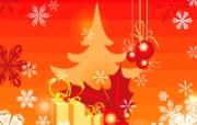 圣诞树礼物雪花 圣诞节简约线条图案 圣诞节简约矢量背景 节日壁纸