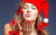 圣诞模特美女 带帽子的圣诞美女图片 圣诞模特圣诞美女高清壁纸 节日壁纸