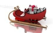 圣诞老人雪橇图片壁纸 圣诞新年装饰壁纸 节日壁纸