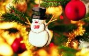 雪人装饰图片壁纸 圣诞新年装饰壁纸 节日壁纸