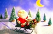 圣诞老人和雪橇玩偶壁纸 圣诞新年装饰壁纸 节日壁纸
