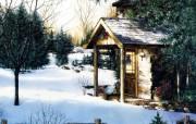 手绘圣诞雪景节日壁纸 节日壁纸